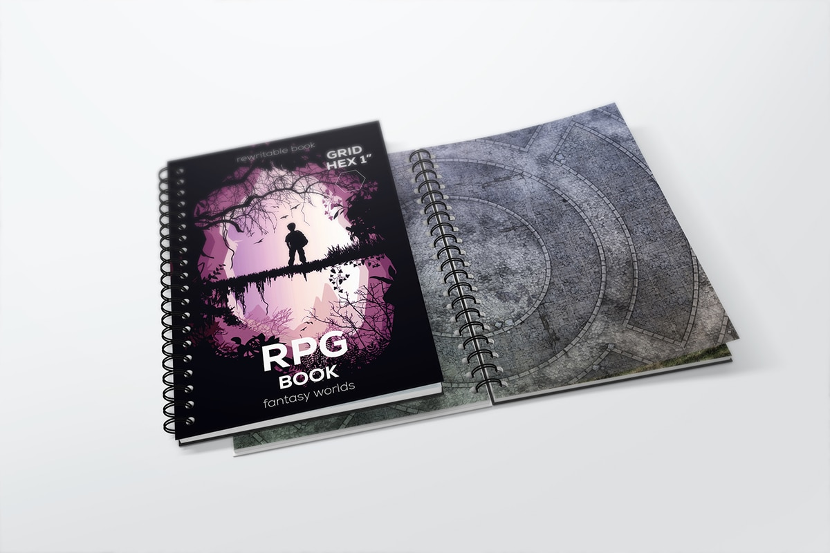 Erasable RPG book with hex grid - size: A4 - 1