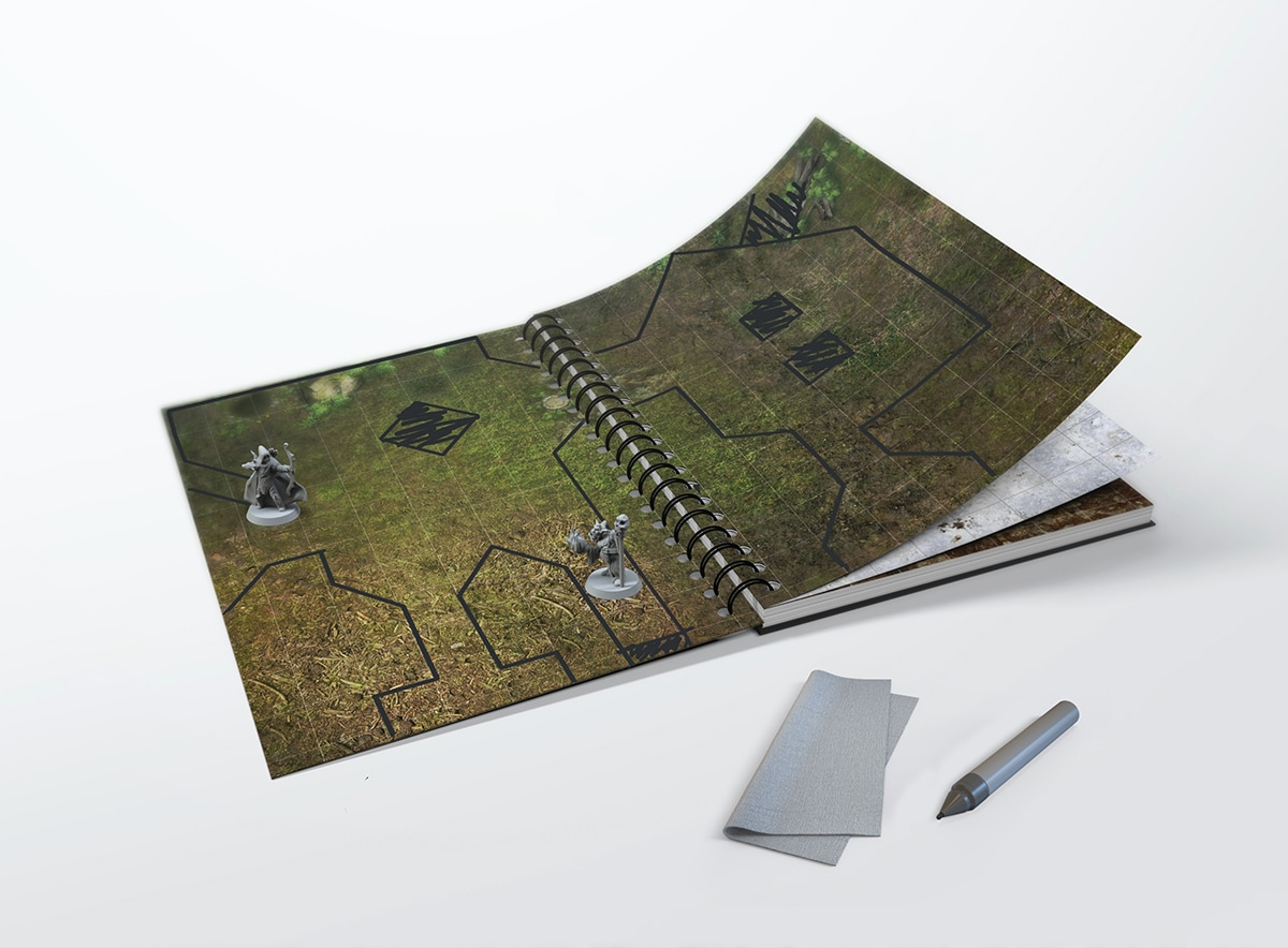 Erasable RPG book with hex grid - size: A3 - 2