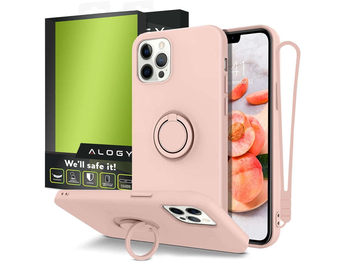 Etui silikonowe Ring Ultra Slim Alogy do iPhone 12 Pro Max 6.7 Różowe - 1