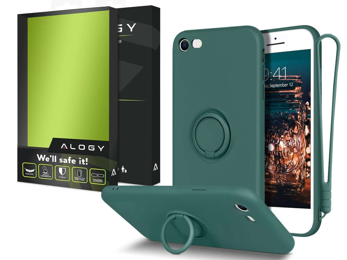 Etui silikonowe Ring Ultra Slim Alogy do iPhone SE 2020/ 8/ 7 Zielone - 8