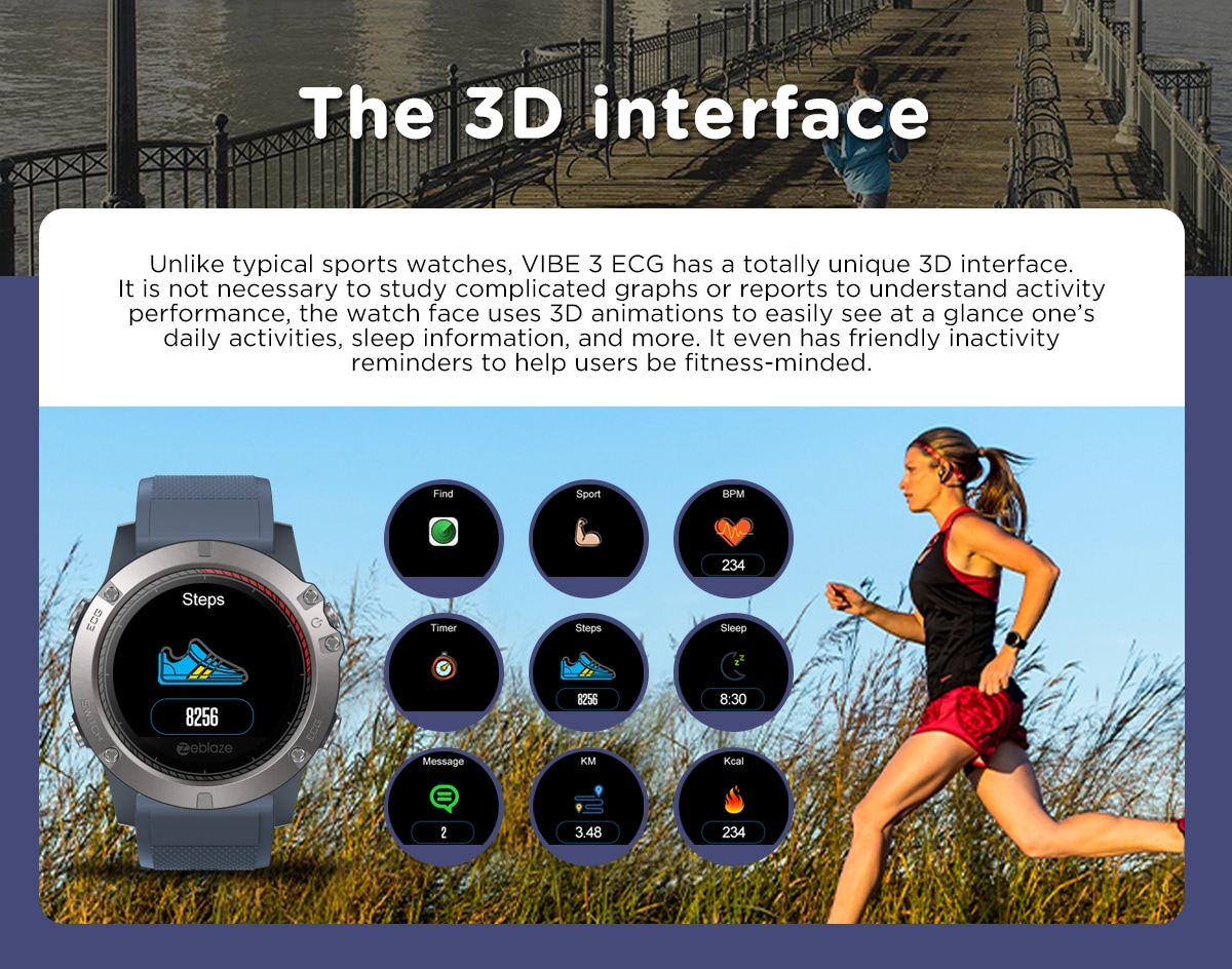 Zeblaze VIBE3 ECG Smart Watch Men Sport Waterproof Electrocardiogram Sleep Monitoring Fitness Tracker Blue CHINA - 9