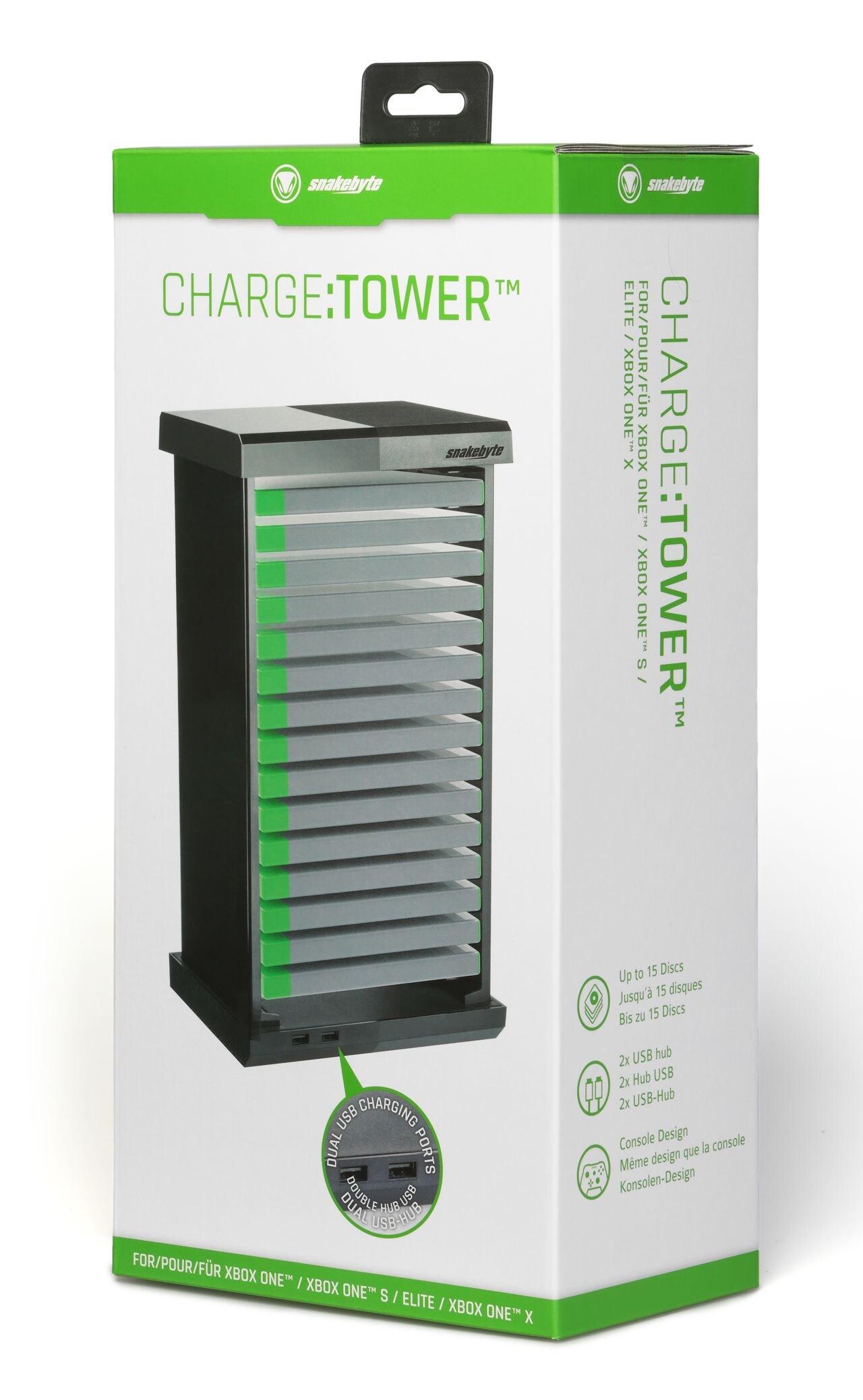 snakebyte organizer płyt XBox ONE z 2xUSB CHARGE:TOWER BLACK - 2
