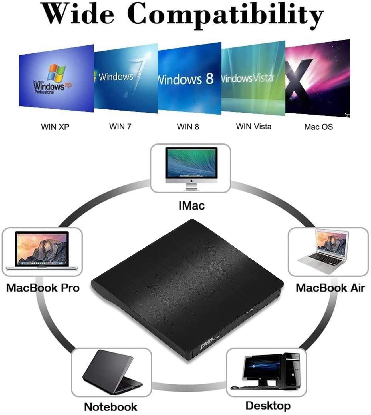 External USB 3.0 CD Player DVD Drive ROM Optical Reader Writer Burner for Windows 10/8/7, Linux,MacBook Pro Surface Pro Black - 5