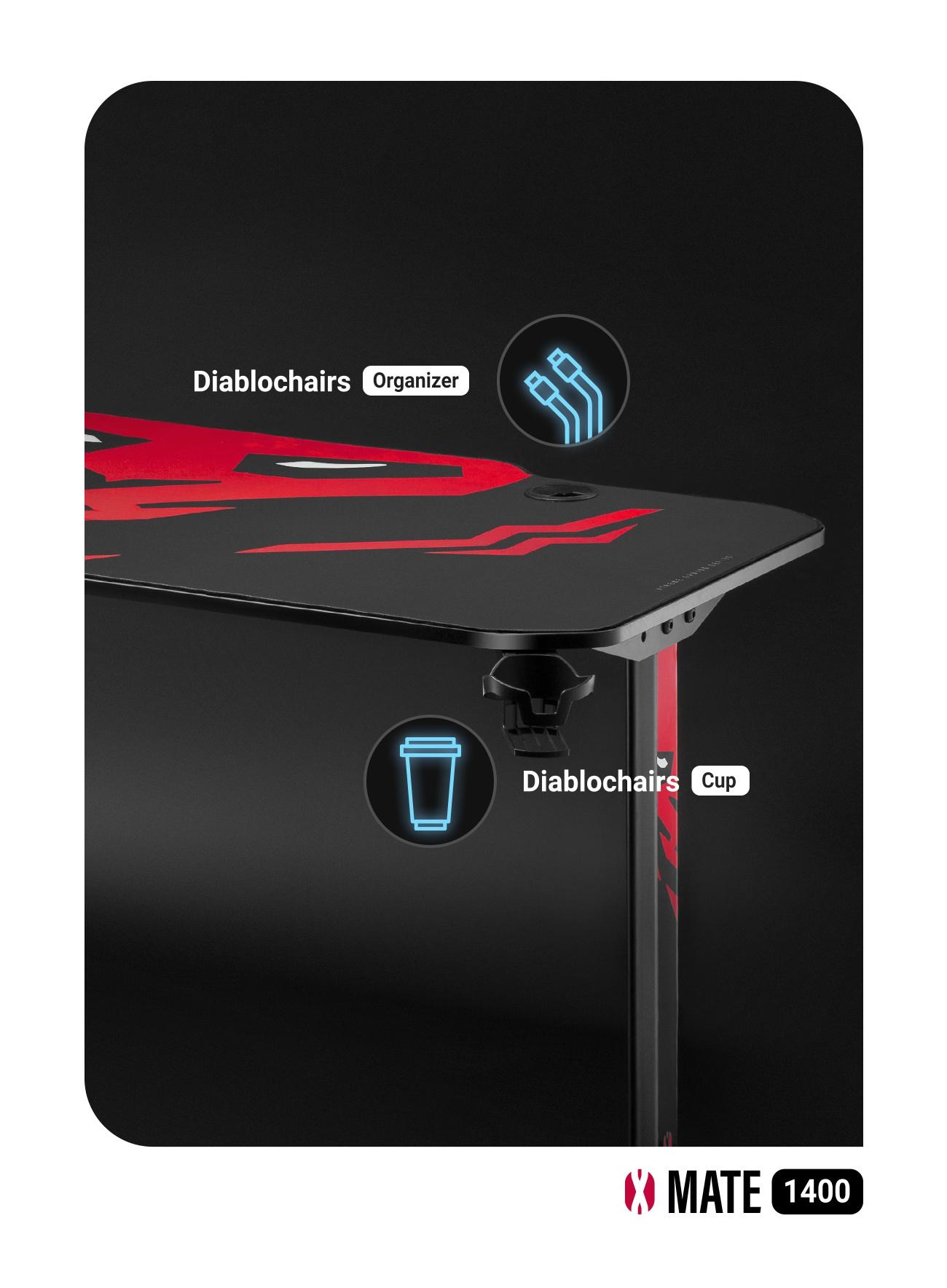 Biurko Gamingowe Diablo X-Mate 1400 Black/Red Gaming - 10