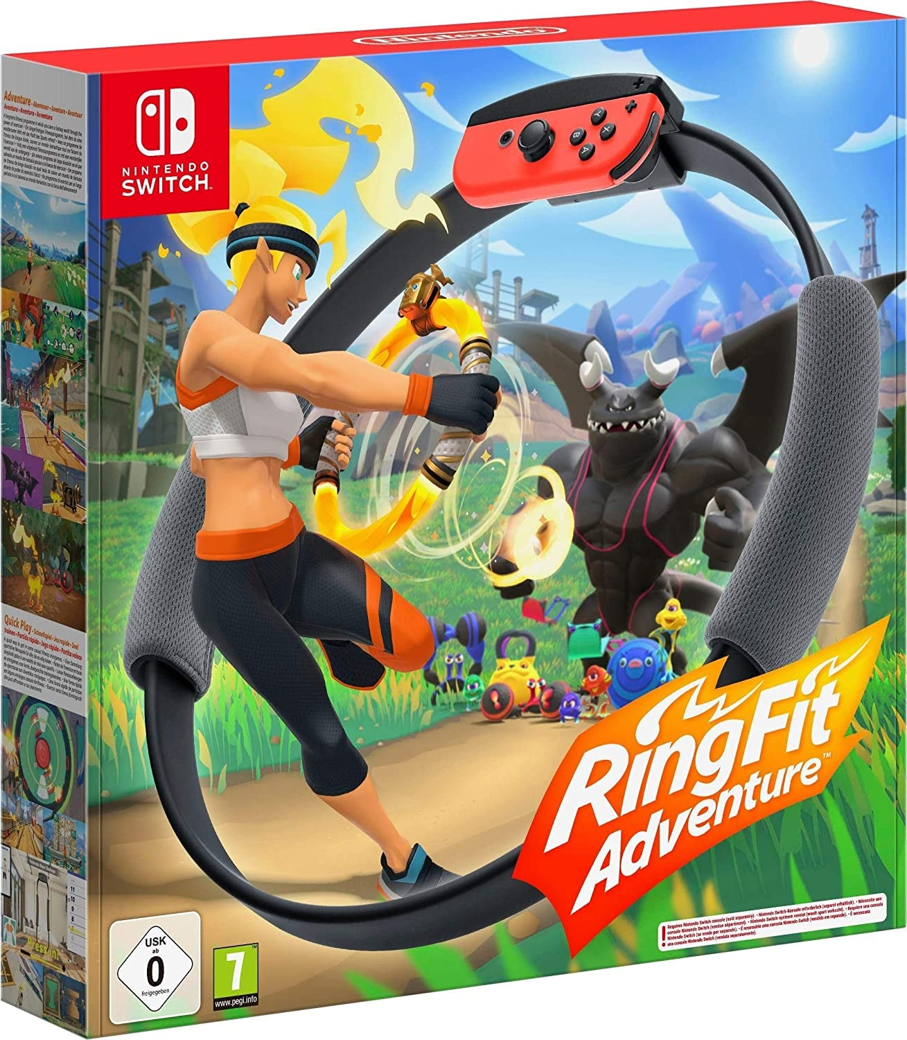Nintendo Switch without Games FItness Ring Set Fit Adventure Ring Fit Exercise Yoga Ring+Leg Band Black - 1