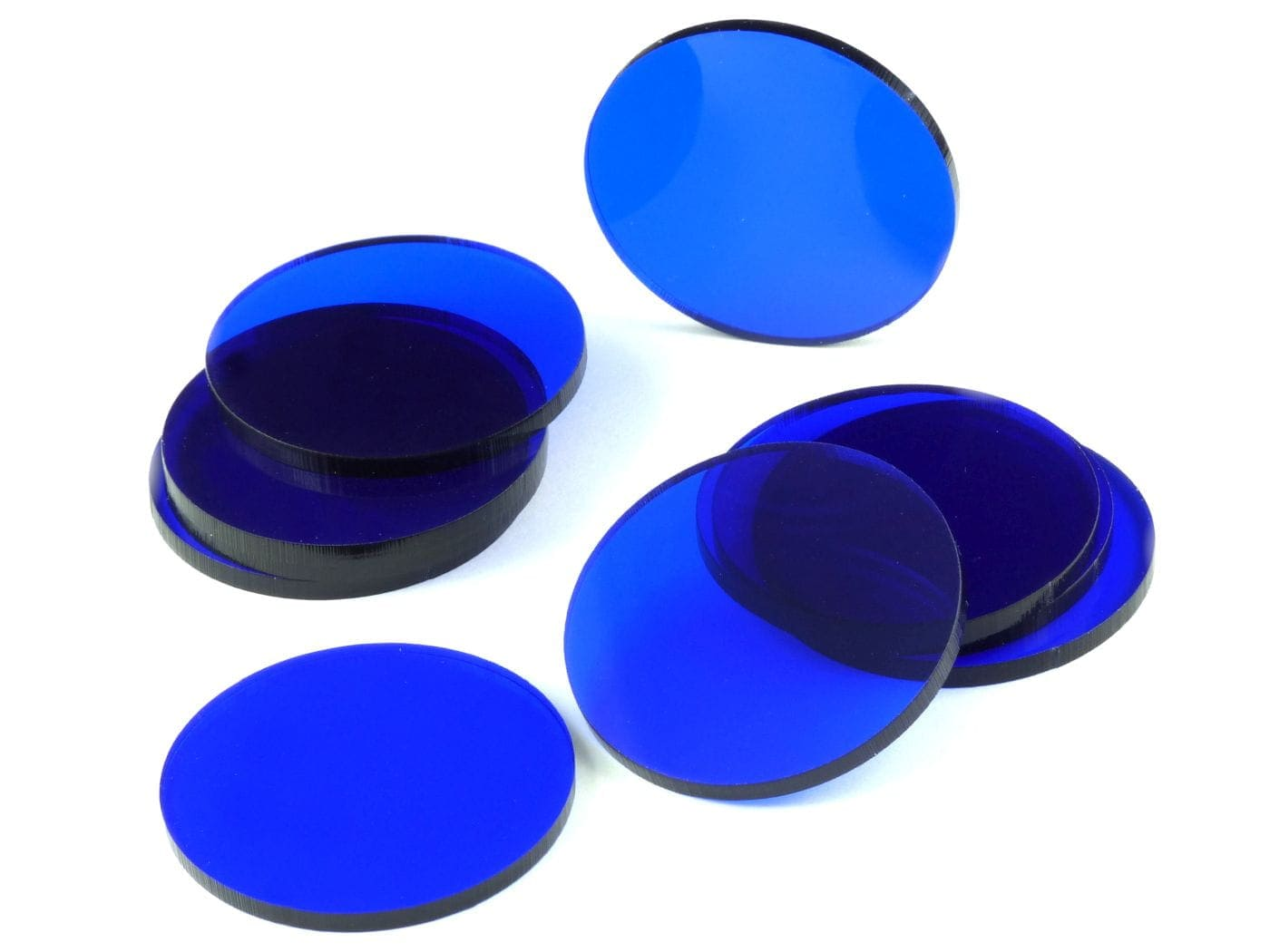 Acrylic miniature bases (10 pcs), round, clear, blue 50 x 3 mm - 1