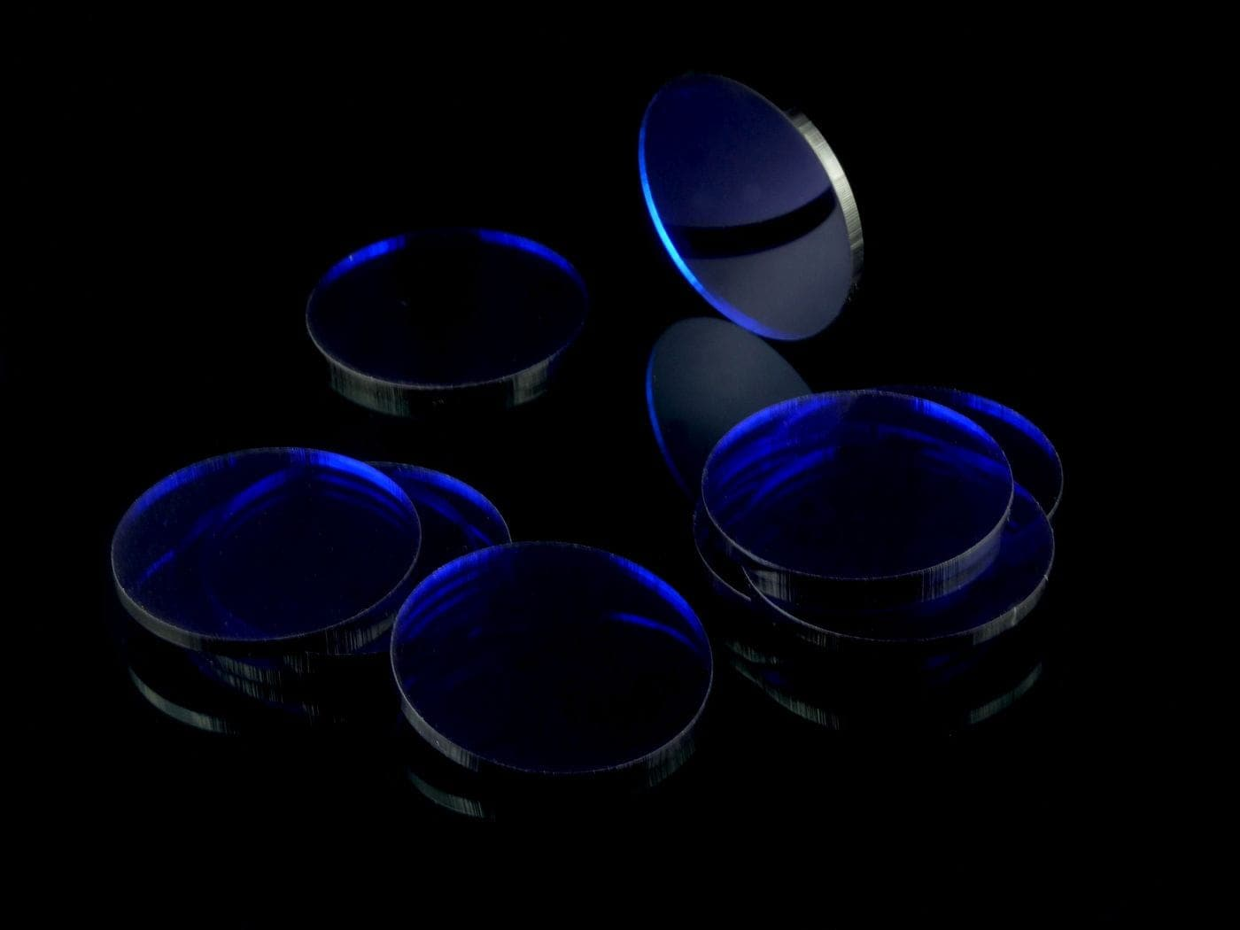 Acrylic miniature bases (10 pcs), round, clear, blue 50 x 3 mm - 2