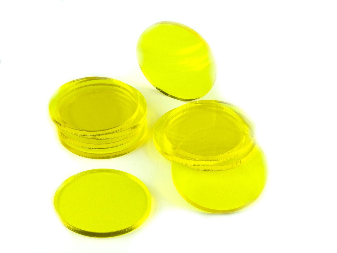 Acrylic miniature bases (10 pcs), round, clear, yellow, 50 x 3 mm - 1