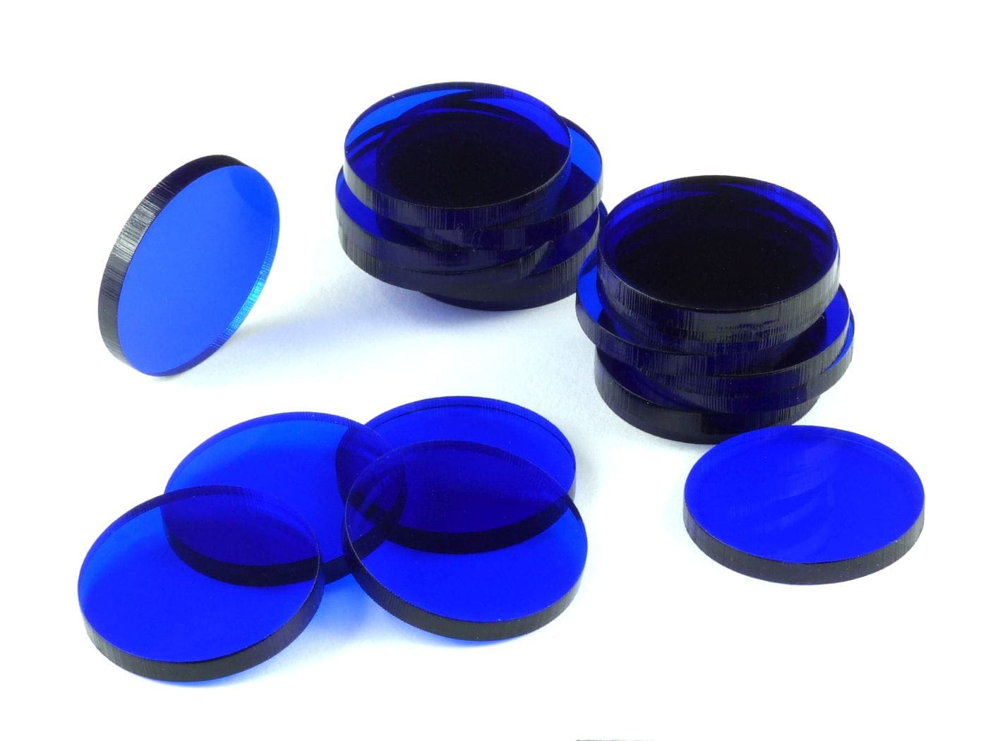 Acrylic miniature bases (20 pcs), round, clear, blue, 25 x 3 mm - 1