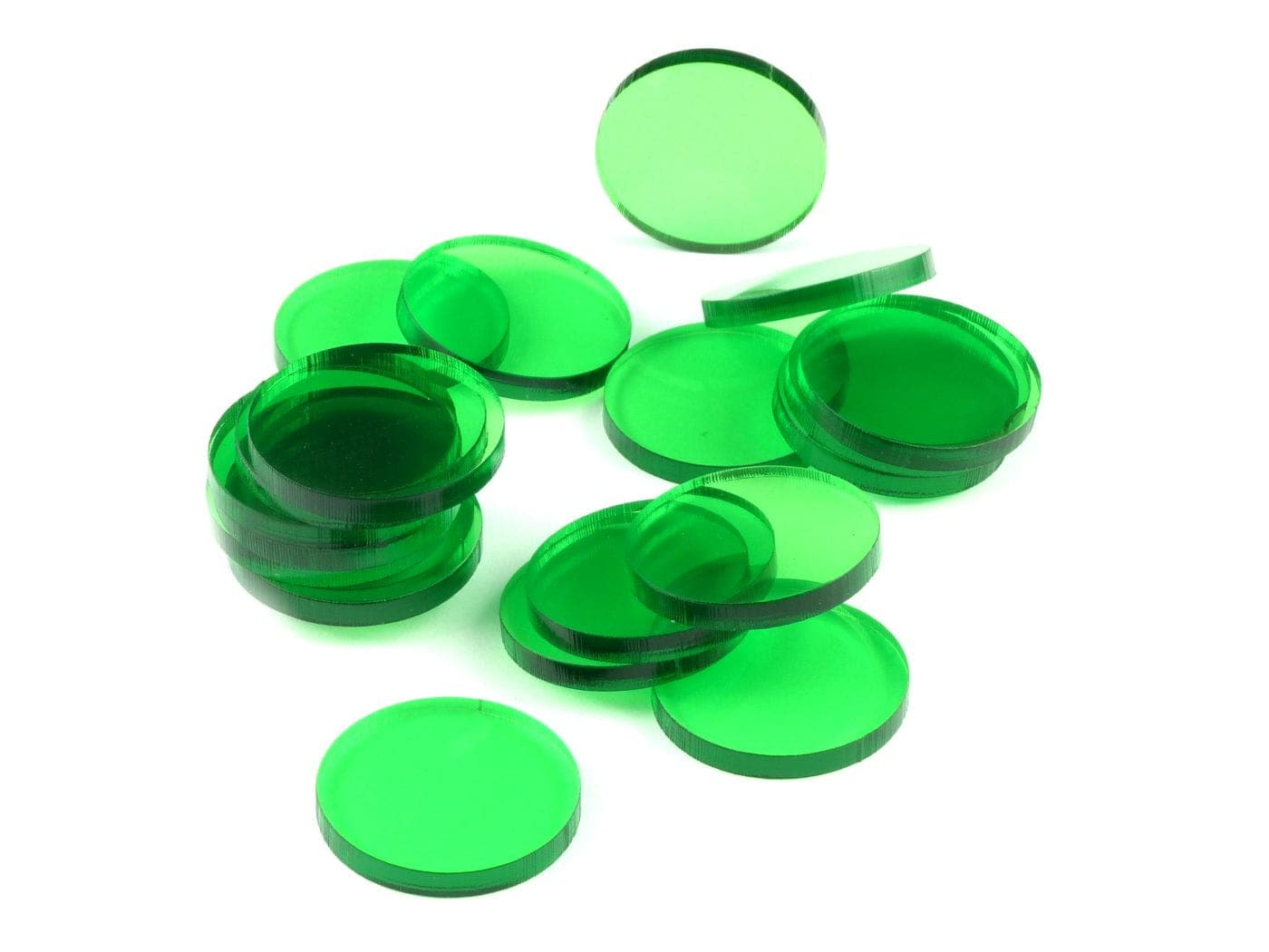 Acrylic miniature bases (20 pcs), round, clear, green, 25 x 3 mm - 1