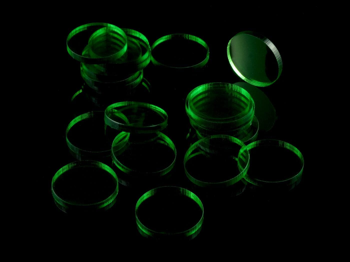 Acrylic miniature bases (20 pcs), round, clear, green, 25 x 3 mm - 2