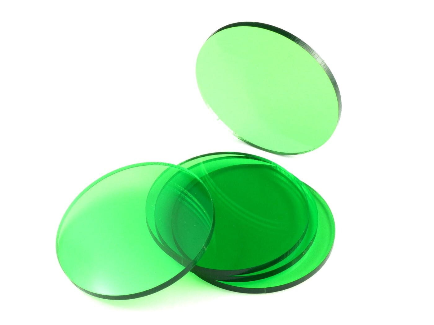 Acrylic miniature bases (5 pcs), round, clear, green, 55 x 3 mm - 1