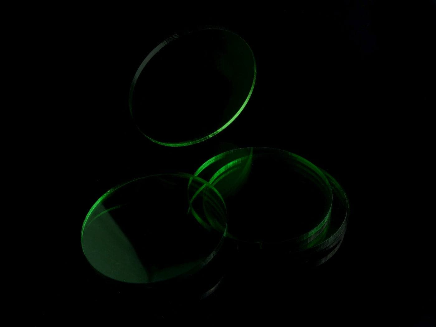 Acrylic miniature bases (5 pcs), round, clear, green, 55 x 3 mm - 2