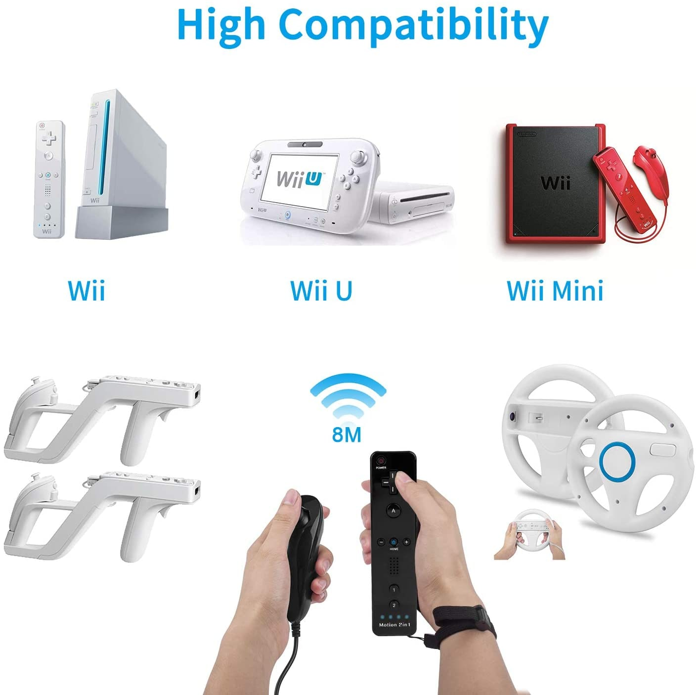 For Nintend Wii Wii U 2 In 1 Set Wireless Bluetooth Joystick Remote with Wii Motion Plus Inside Shock Nunchuk Controller White - 4