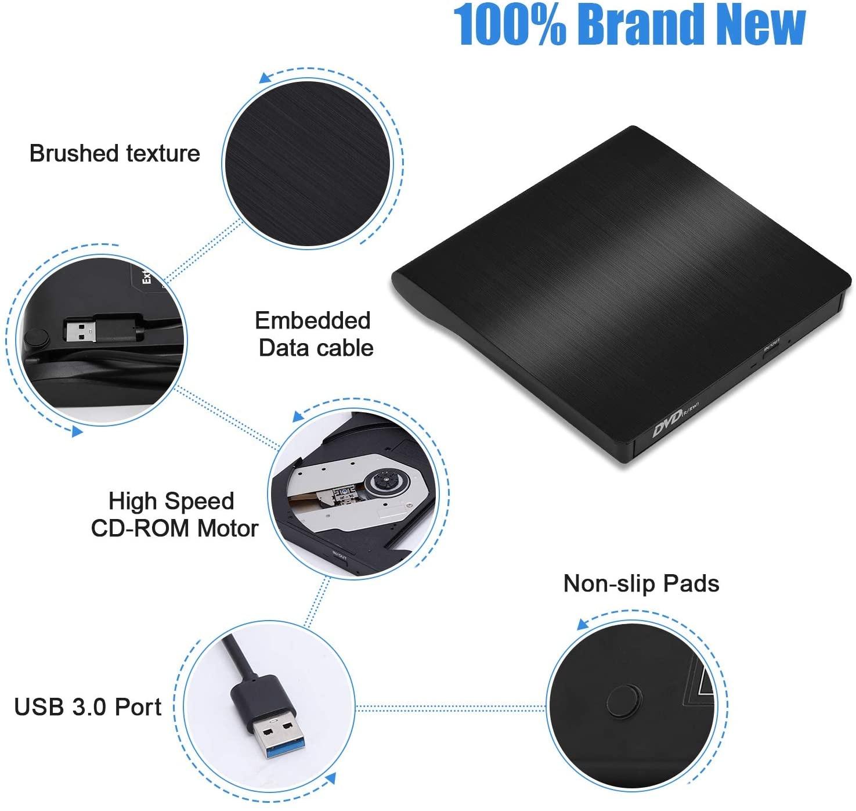 External USB 3.0 CD Player DVD Drive ROM Optical Reader Writer Burner for Windows 10/8/7, Linux,MacBook Pro Surface Pro Black - 2