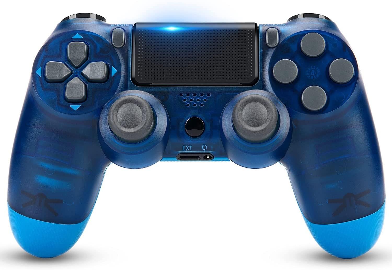 Newest PS4 Controller Dual Shock 4th Bluetooth Wireless Gamepad Joystick Remote Transparent Blue - 1