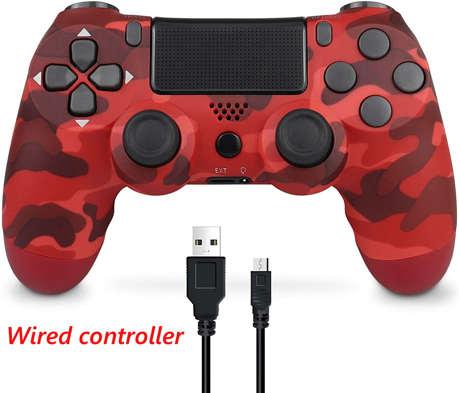 PS4 Wired Controller Dual Shock 4 Gamepad For Sony Playstation 4 Red Camouflage - 1