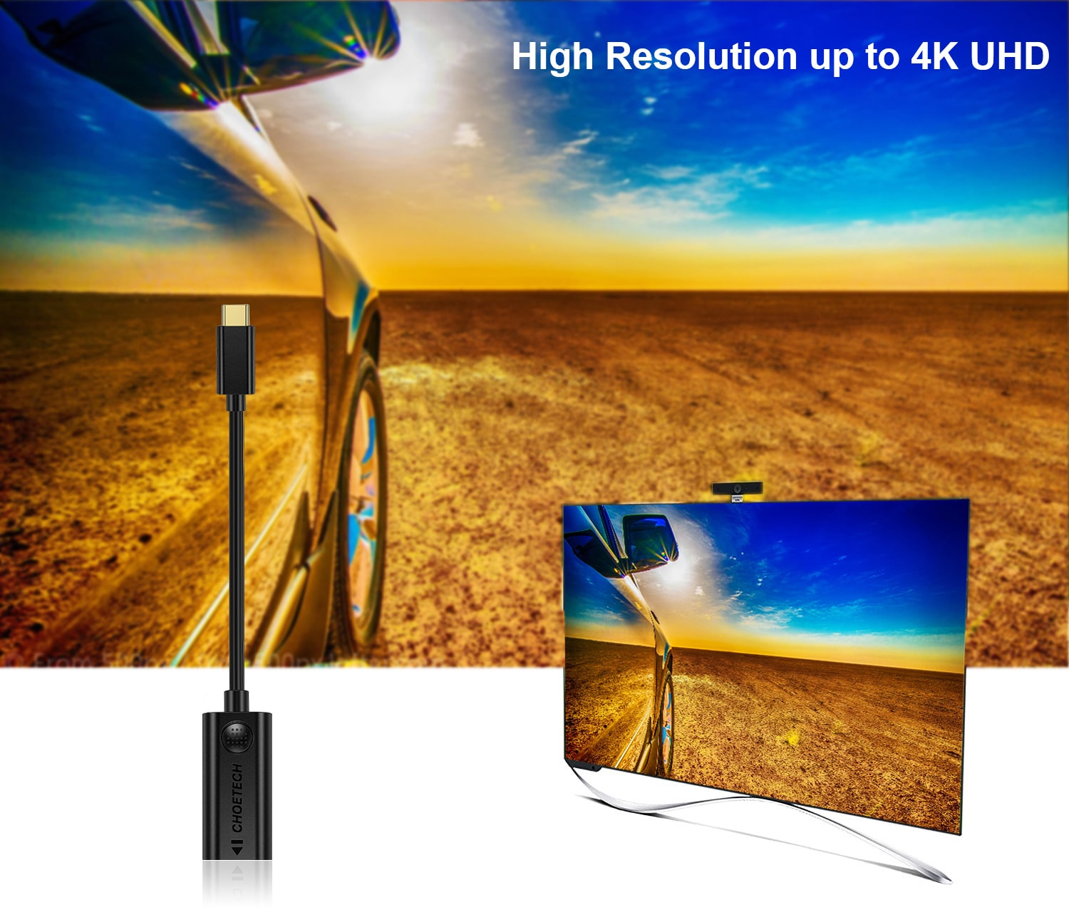 CHOETECH USB C to HDMI Adapter 4K@30Hz Thunderbolt 3 Compatible For Samsung S8/S9 Plus, MacBook Pro 2017 - 3