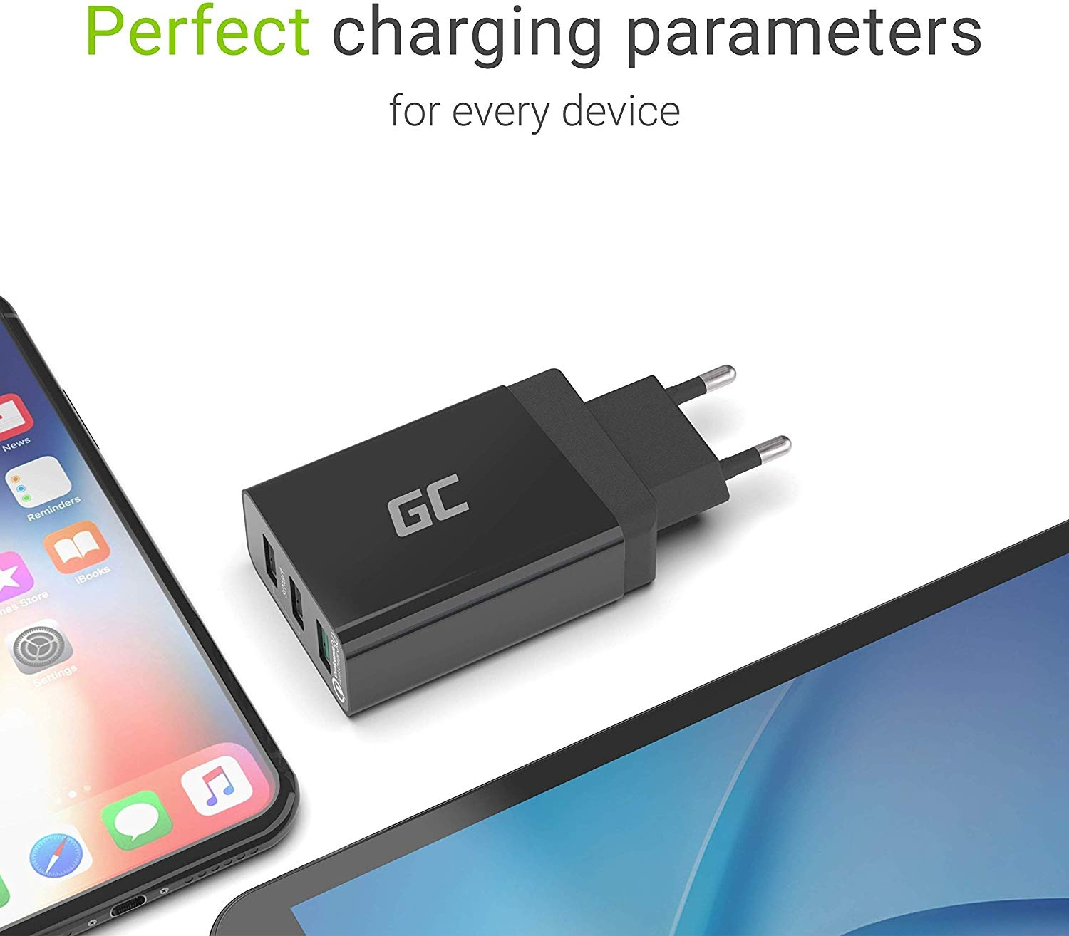 GC® Universal Charger 30W 3-Port USB with QC Quick Charge 3.0 for iPhone iPad Samsung Honor HTC Huawei LG Sony - 5