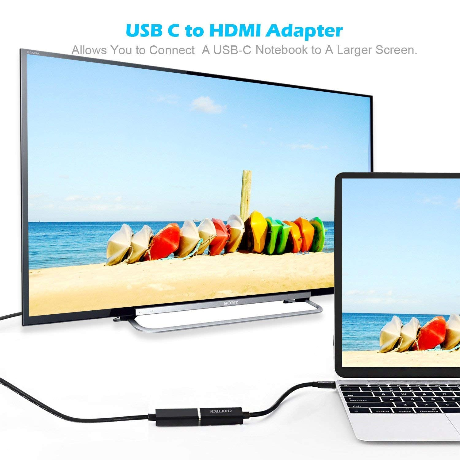 CHOETECH USB C to HDMI Adpater 4K@30Hz 1080P Thunderbolt 3 Compatible for MacBook Pro - 6
