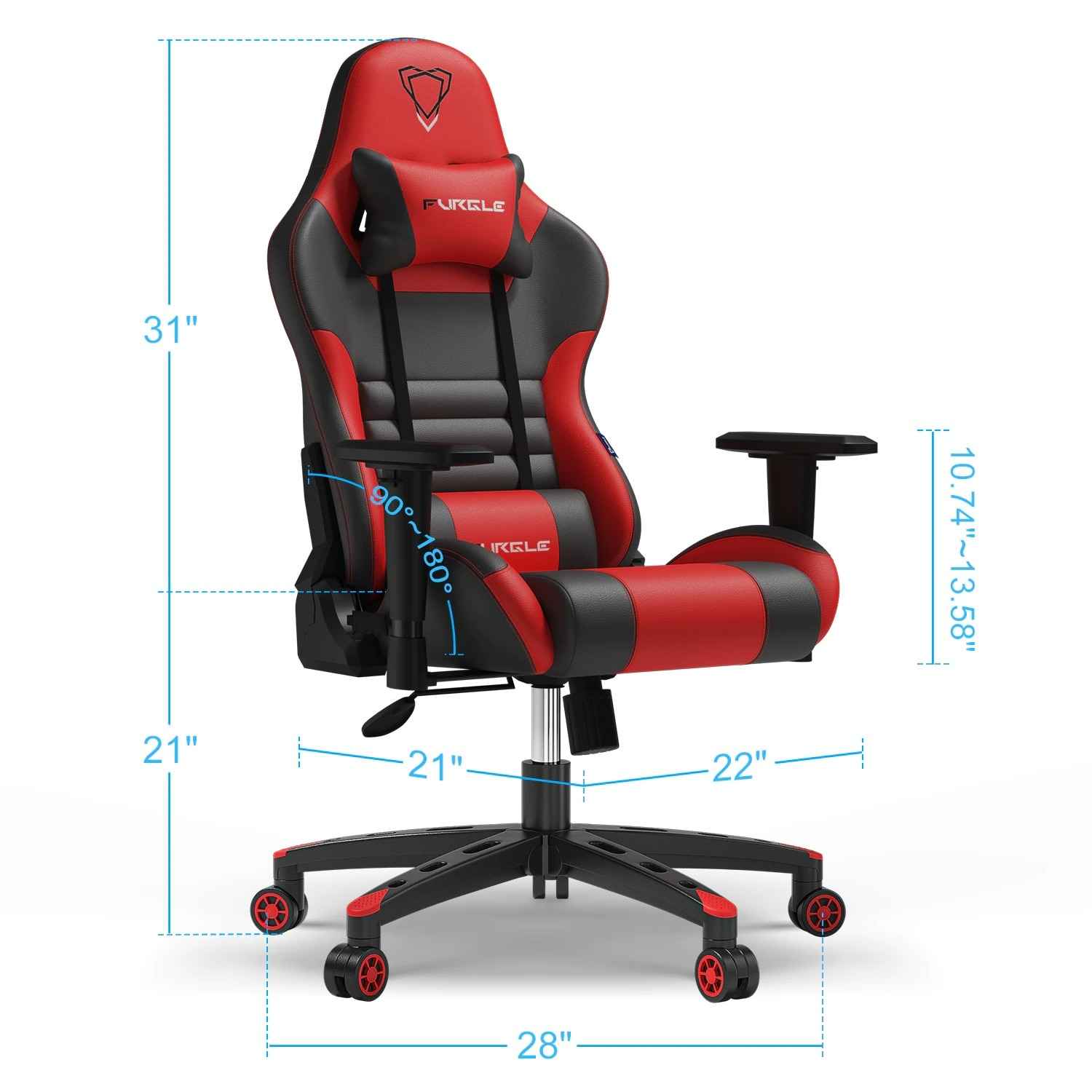 FURGLE ADJUSTABLE GAMING CHAIR Gaming Chair Black & white Not Specified - 3