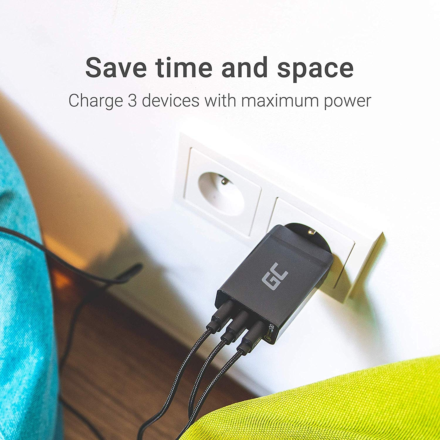 GC® Universal Charger 30W 3-Port USB with QC Quick Charge 3.0 for iPhone iPad Samsung Honor HTC Huawei LG Sony - 6