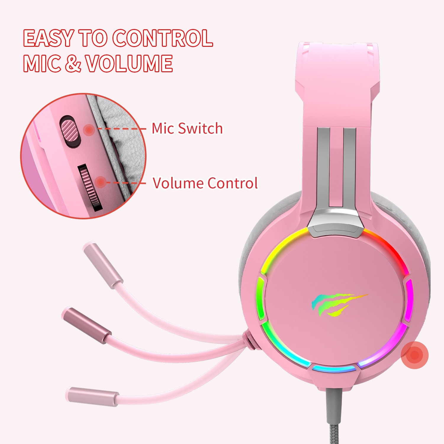Havit Professional RGB Headset With Mic Switch for Computer, PS4, Xbox, phone Pink - 2