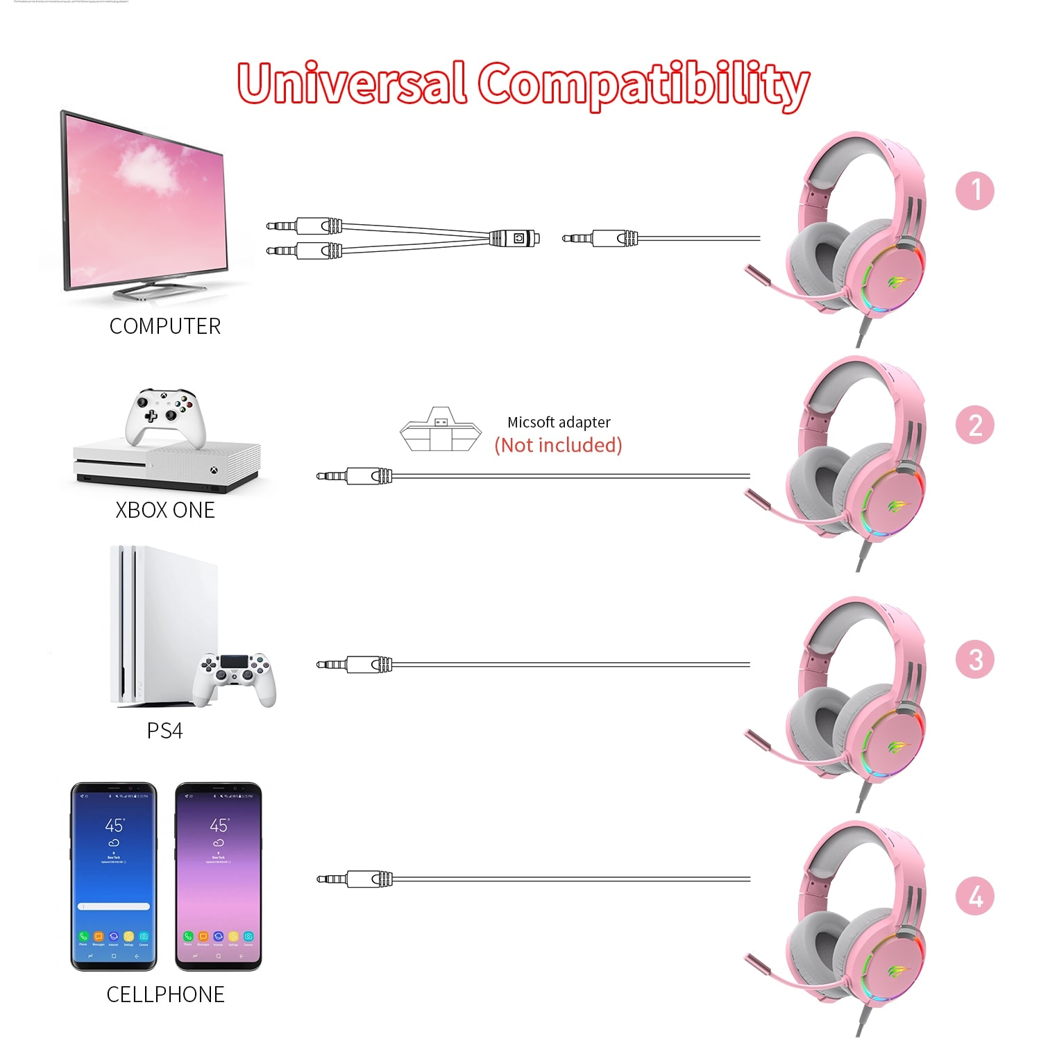 Havit Professional RGB Headset With Mic Switch for Computer, PS4, Xbox, phone Pink - 4