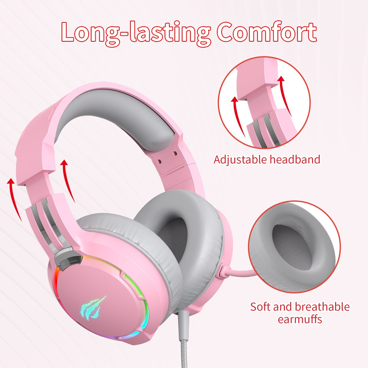 Havit Professional RGB Headset With Mic Switch for Computer, PS4, Xbox, phone Pink - 3