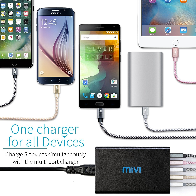 Mivi 5 port 8A Desktop USB Turbo Charging Station HUB  4ft. Black Plastic - 2