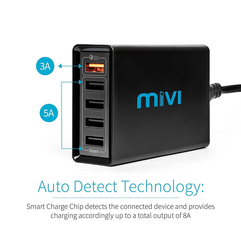 Mivi 5 port 8A Desktop USB Turbo Charging Station HUB  4ft. Black Plastic - 3