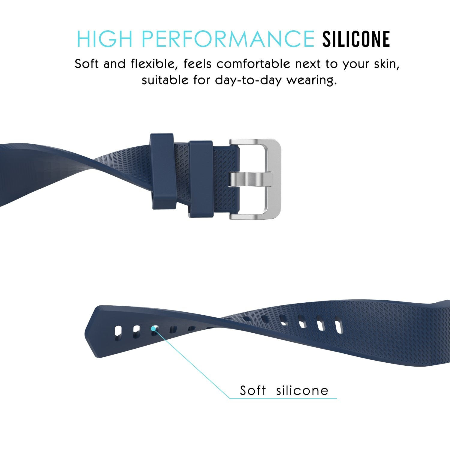 Soft Silicone Wrist Strap Watchband For Fitbit Charge 2 Replacement Watch Band Green - 3