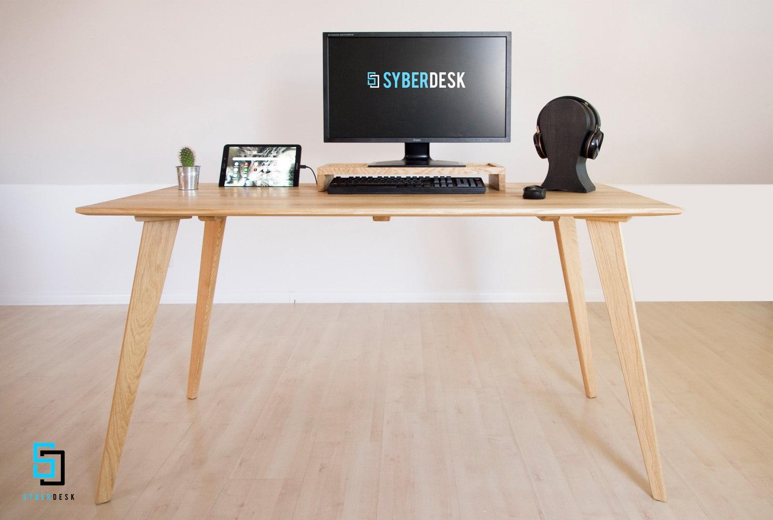 SyberDesk Soild Oak Gaming - 5