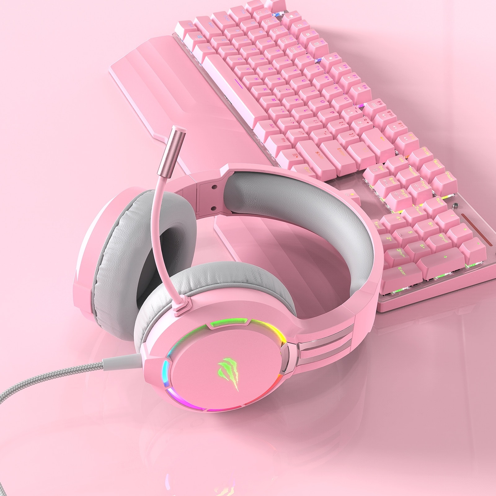 Havit Professional RGB Headset With Mic Switch for Computer, PS4, Xbox, phone Pink - 5