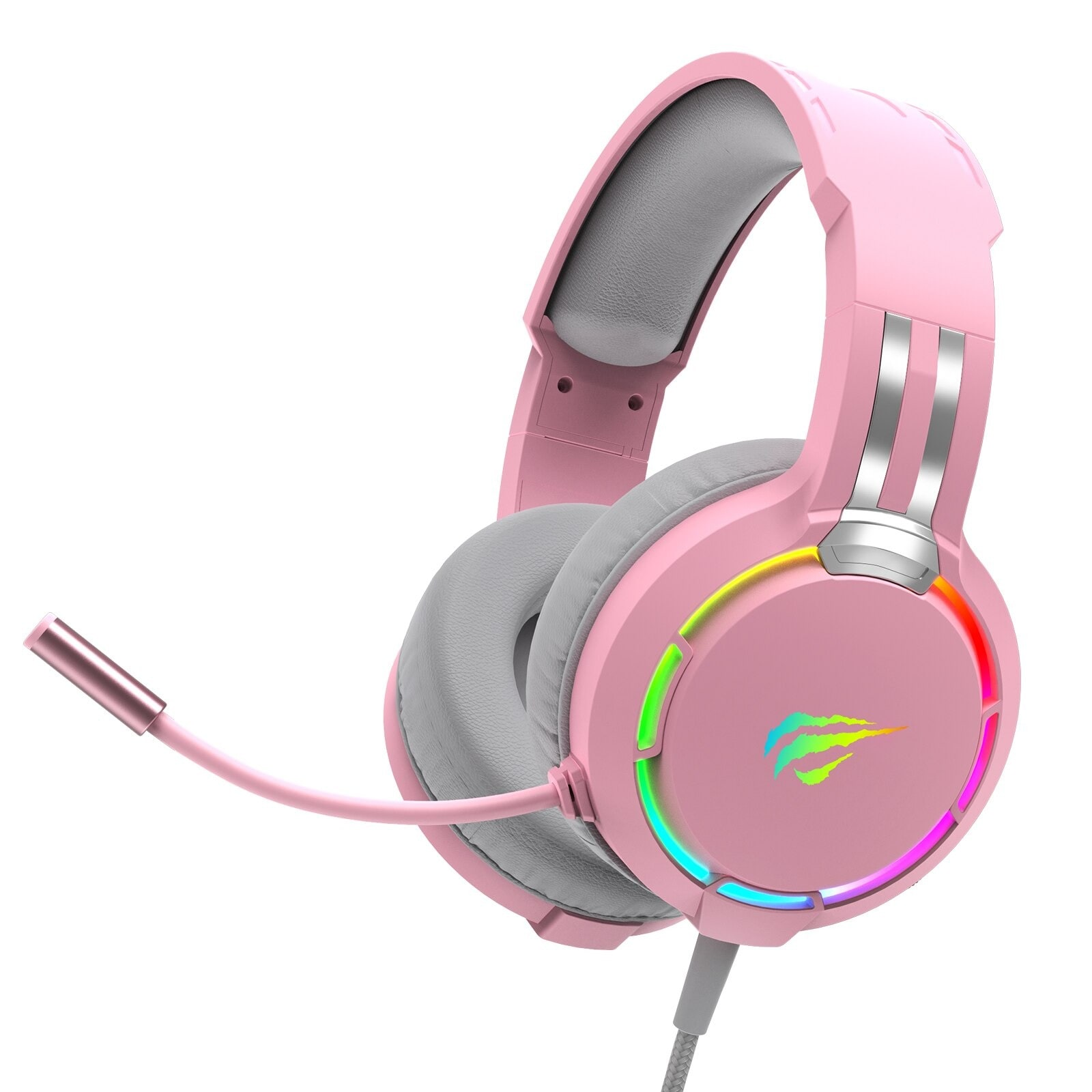 Havit Professional RGB Headset With Mic Switch for Computer, PS4, Xbox, phone Pink - 1