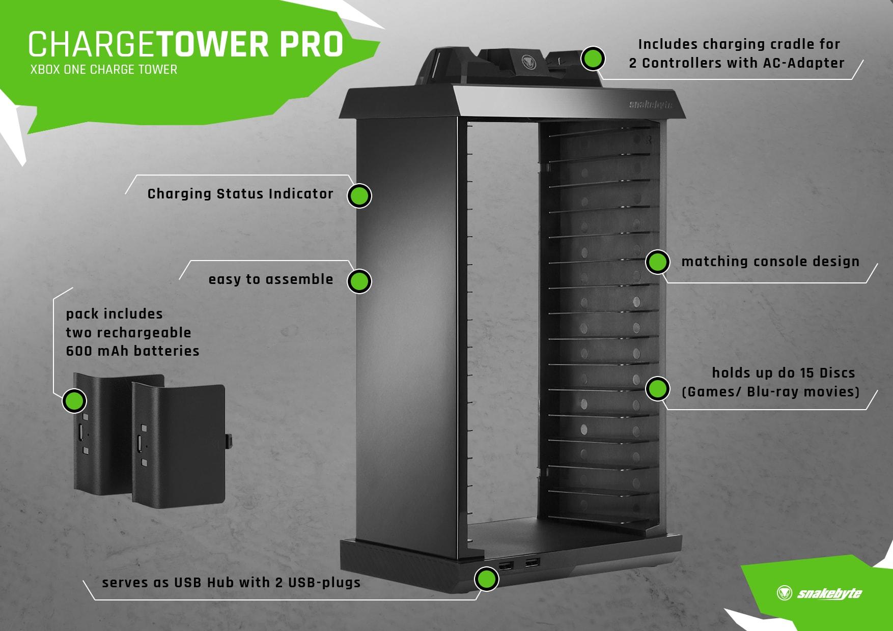 snakebyte ładowarka kontrolera Xbox One z akumulatorami CHARGE:TOWER PRO - 7