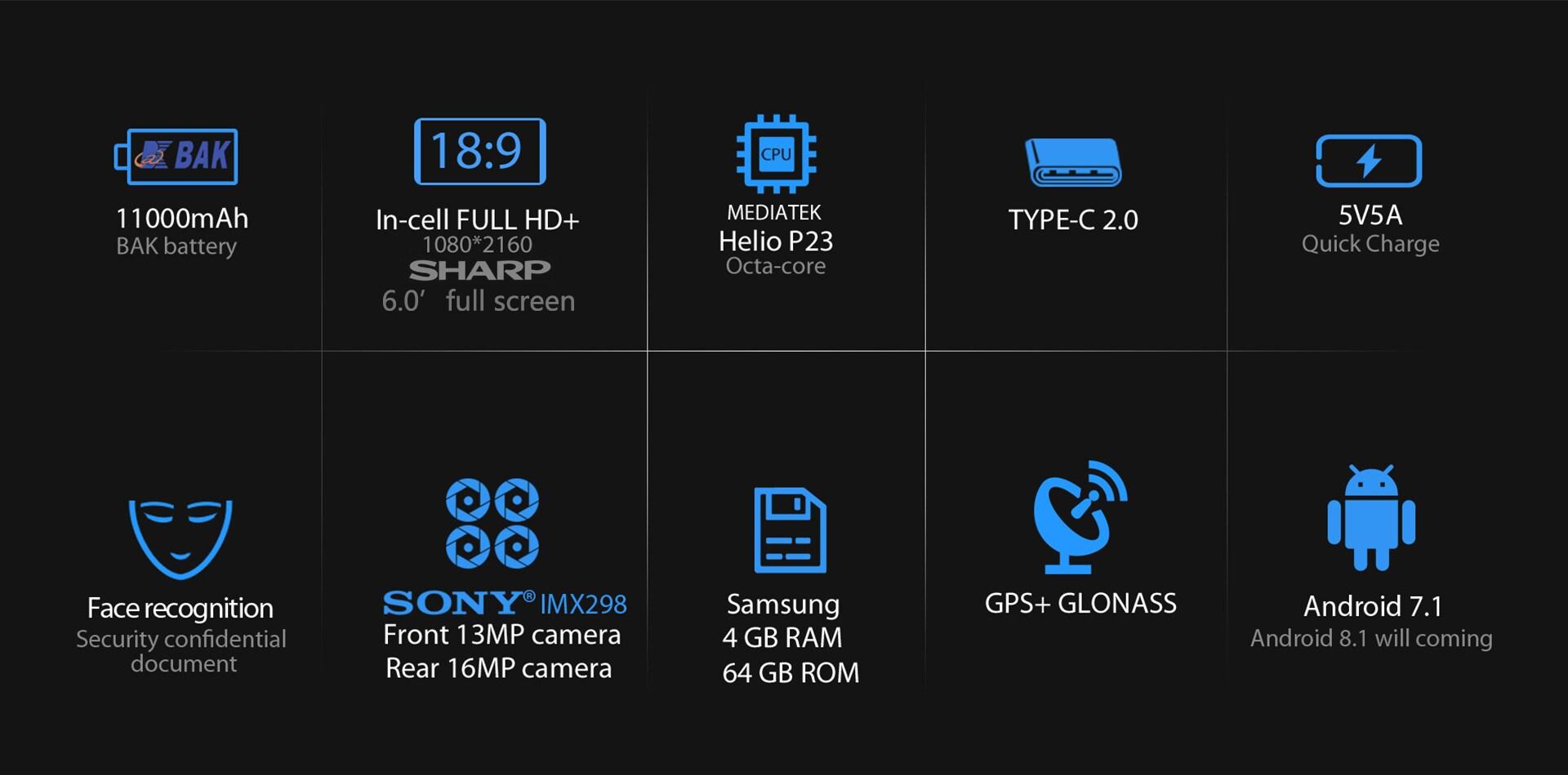 Blackview P10000 Pro 5.99 Inch FHD+ Full Screen 4GB RAM + 64GB ROM MT6763 Octa Core Smartphone Glass Black - 5