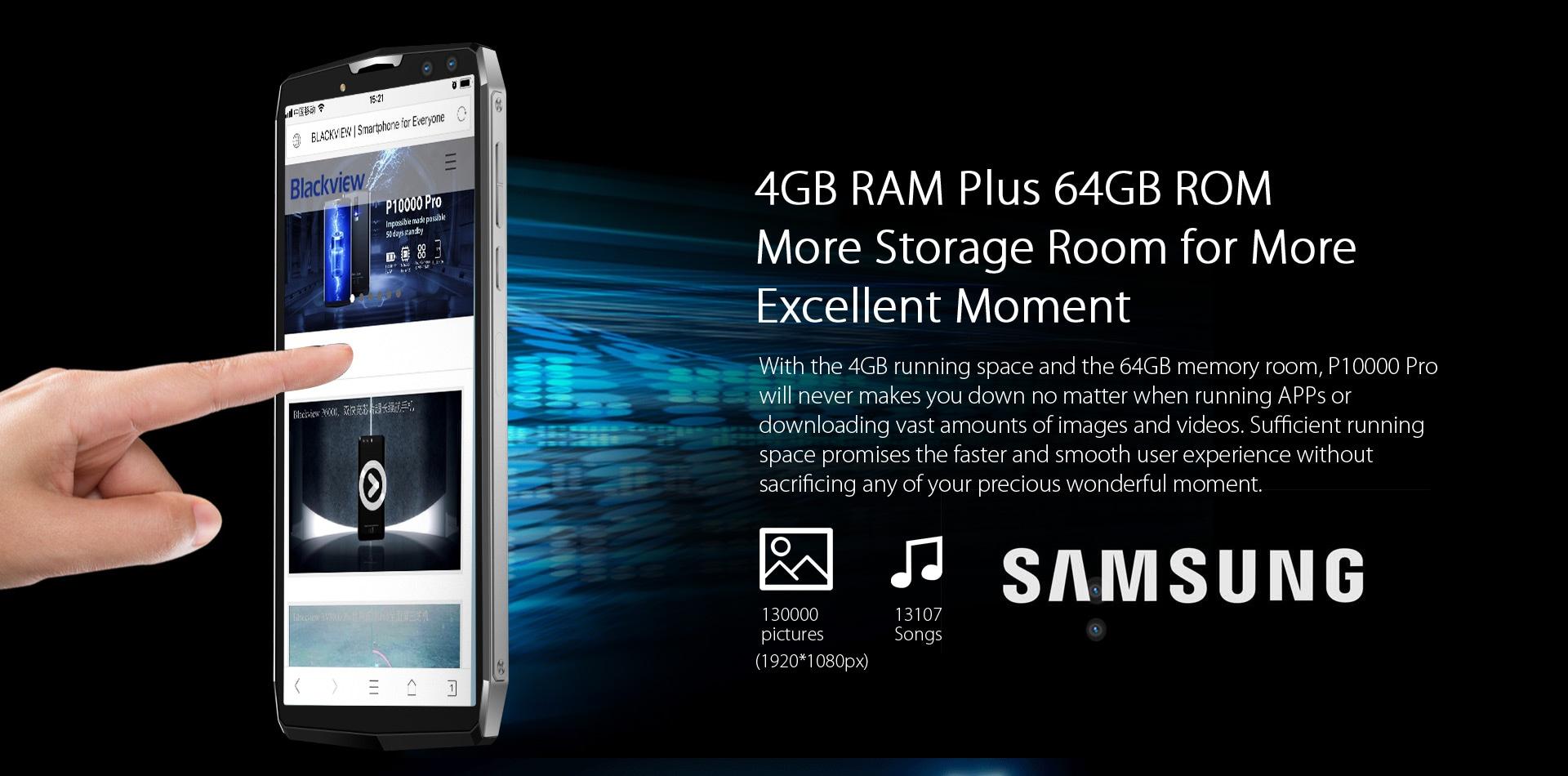 Blackview P10000 Pro 5.99 Inch FHD+ Full Screen 4GB RAM + 64GB ROM MT6763 Octa Core Smartphone Glass Black - 6