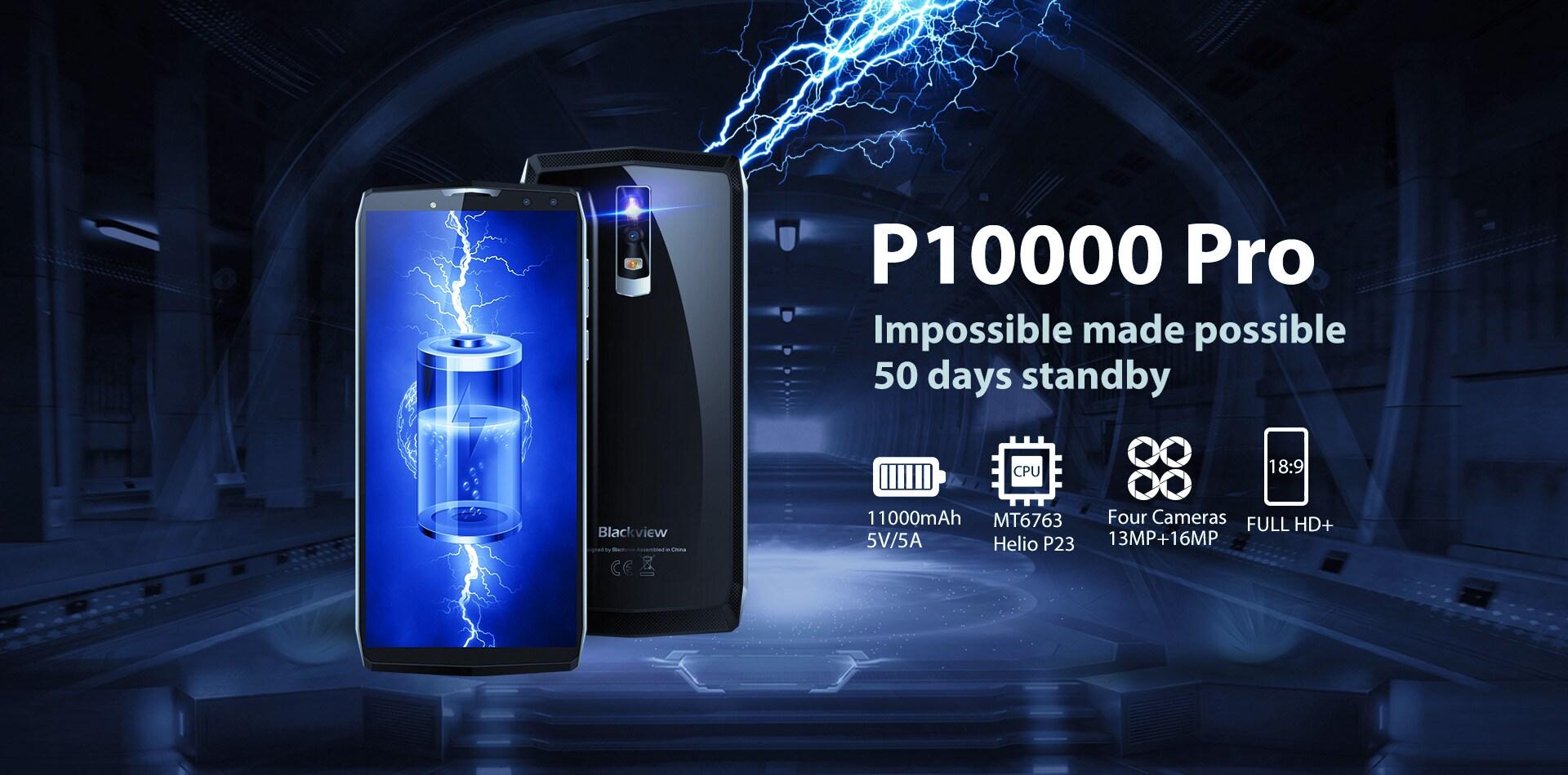 Blackview P10000 Pro 5.99 Inch FHD+ Full Screen 4GB RAM + 64GB ROM MT6763 Octa Core Smartphone Glass Black - 12