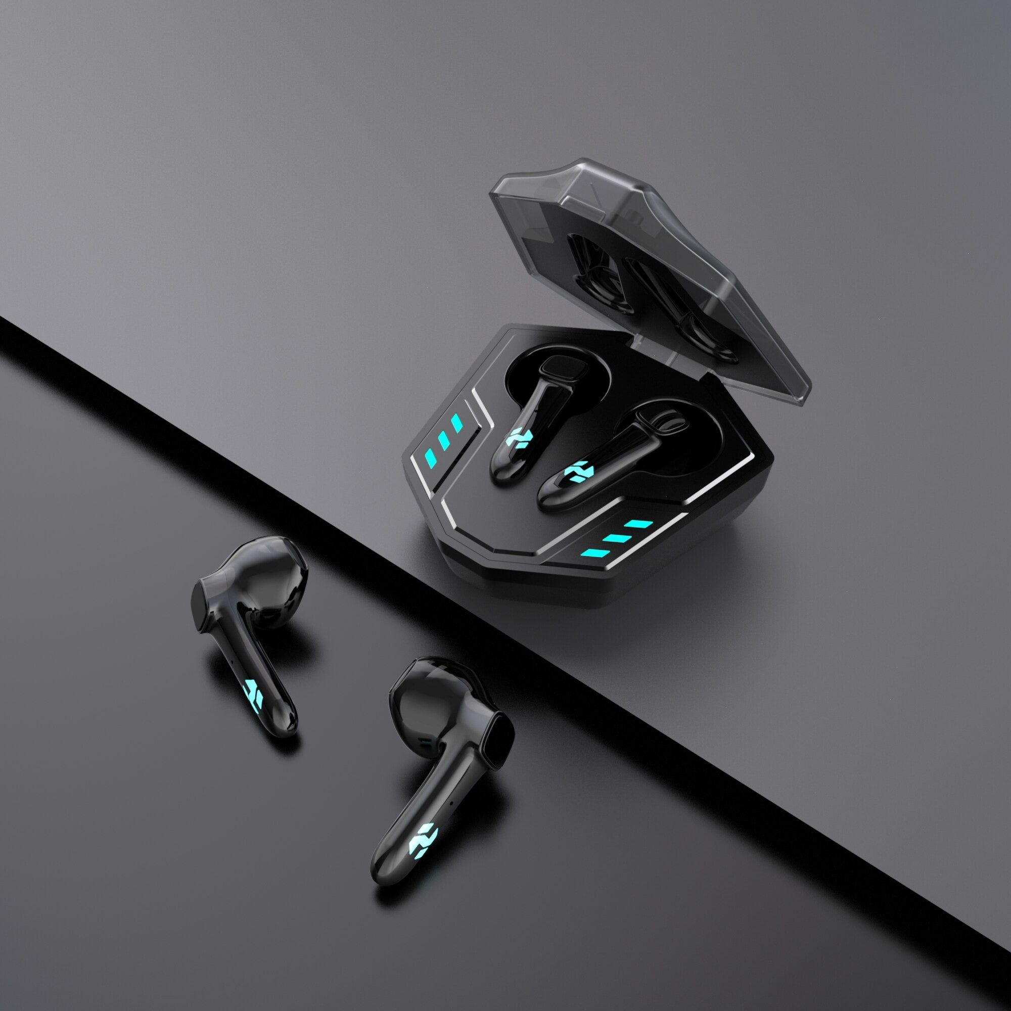 TWS Bluetooth Gamingx Headset 5.0 Heavy Bass True Wireless Stereo Earphones With Mic Noise Reduction Earbuds Black - 4