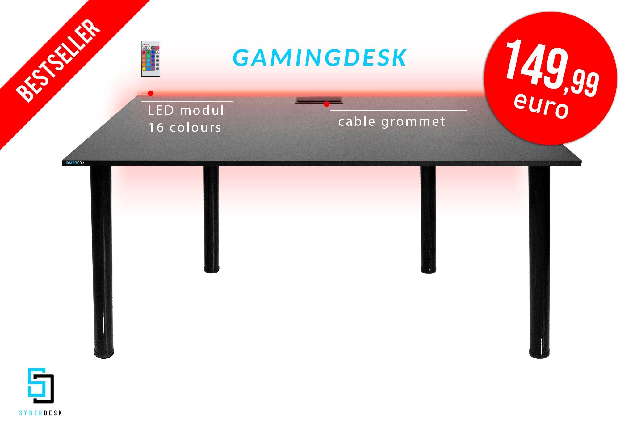 SyberDesk PRO LED Black Gaming - 3