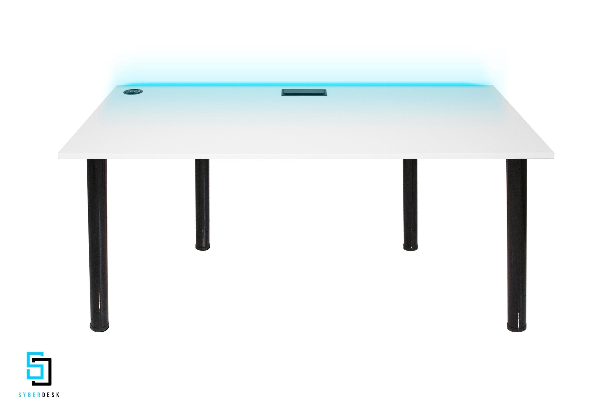 SyberDesk PRO LED USB WHITE White Gaming - 2