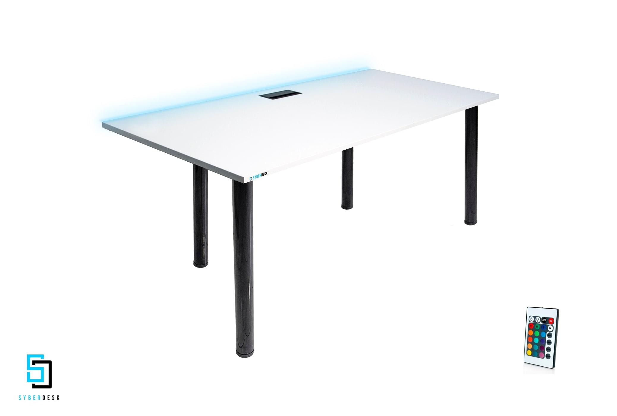 SyberDesk PRO LED WHITE White Gaming - 3