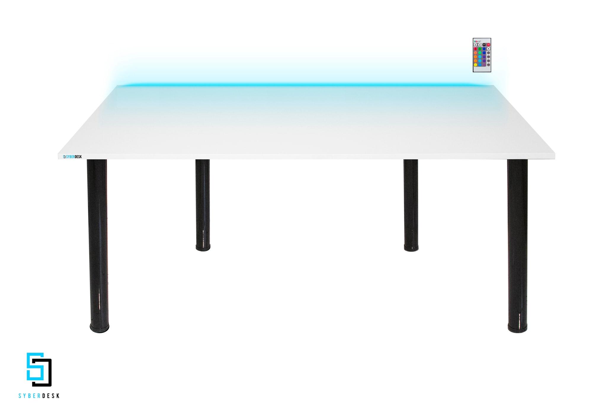 SyberDesk PRO LED WHITE White Gaming - 1