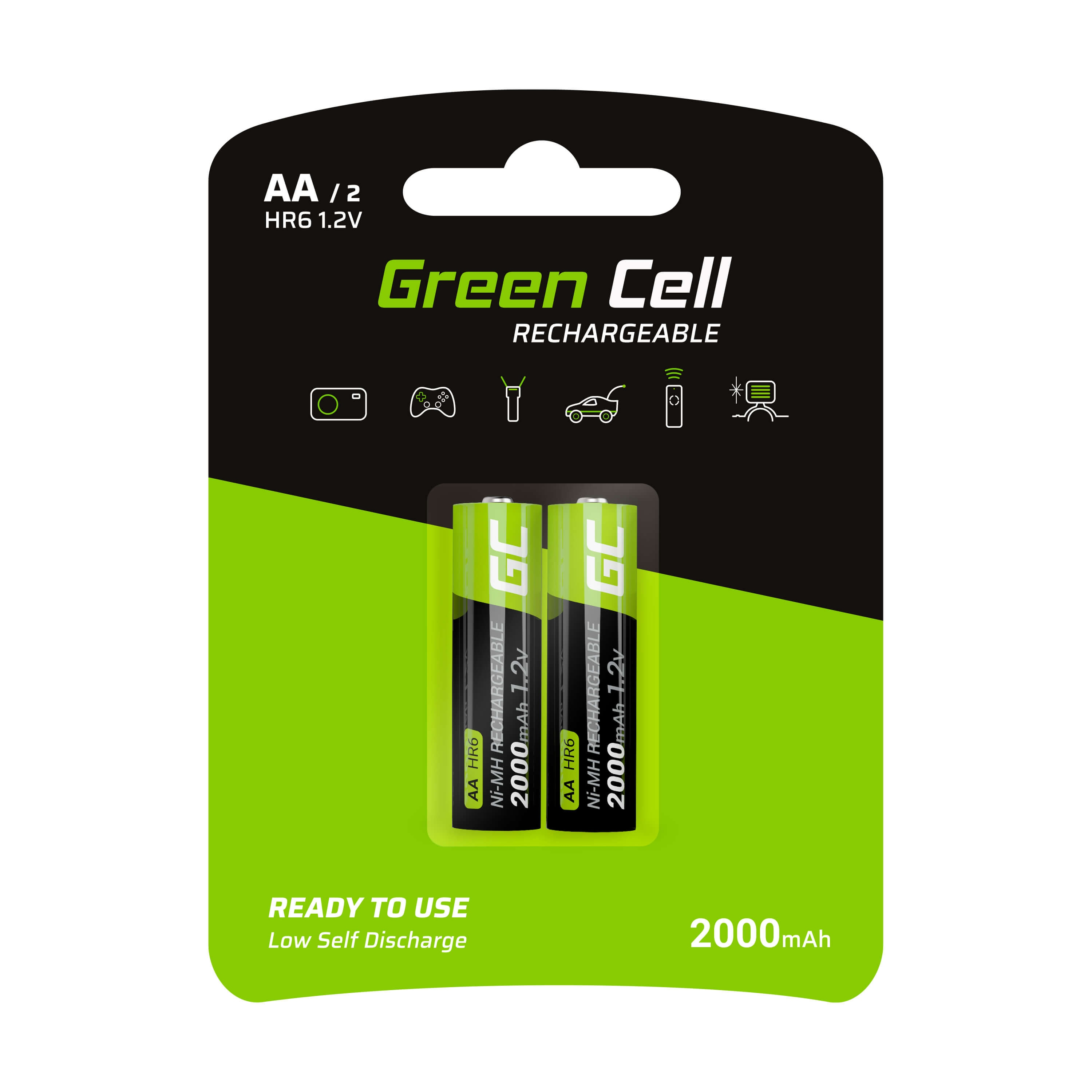 GC® 2x AA rechargeable batteries 2000mAh HR6 Green Cell - 1