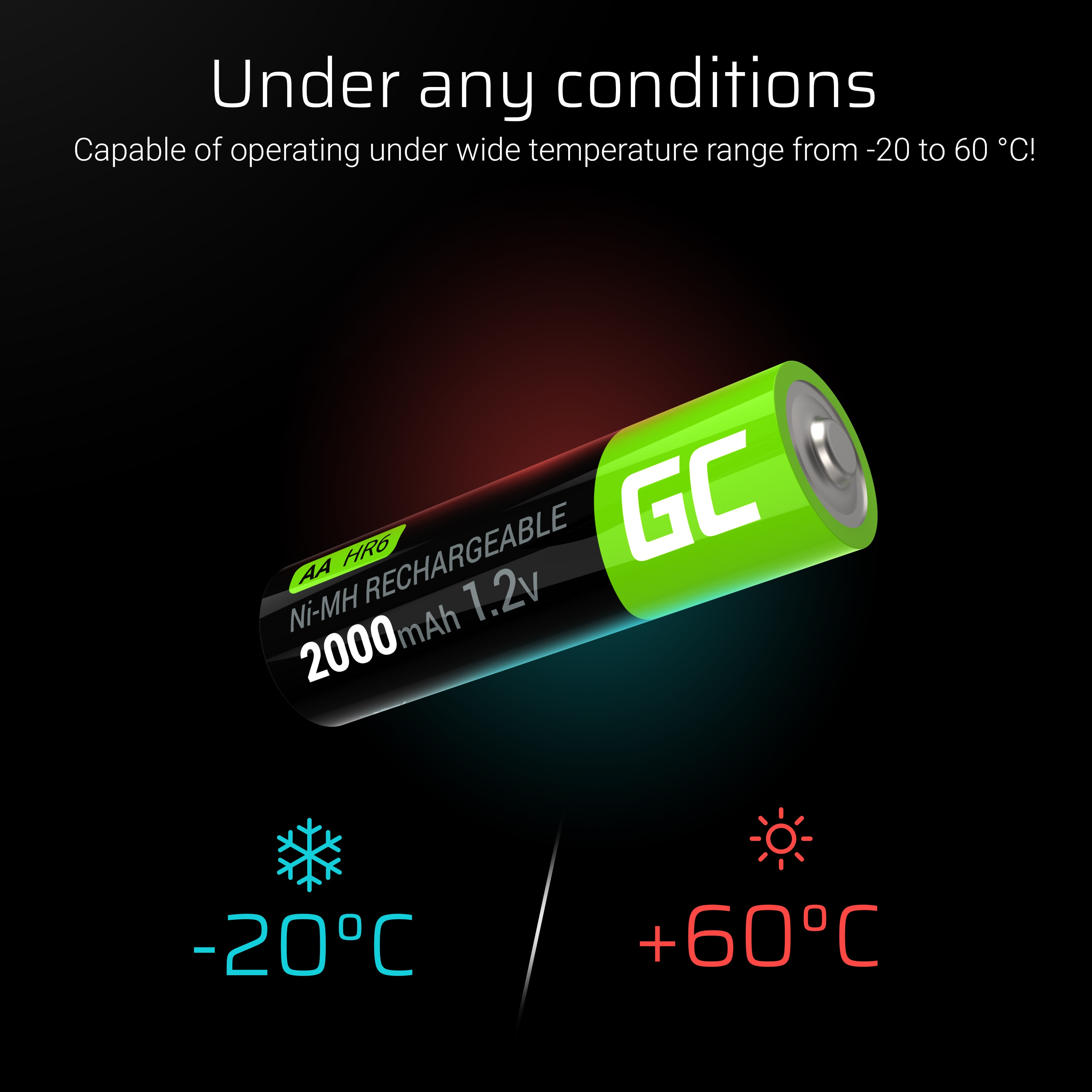 GC® 2x AA rechargeable batteries 2000mAh HR6 Green Cell - 7