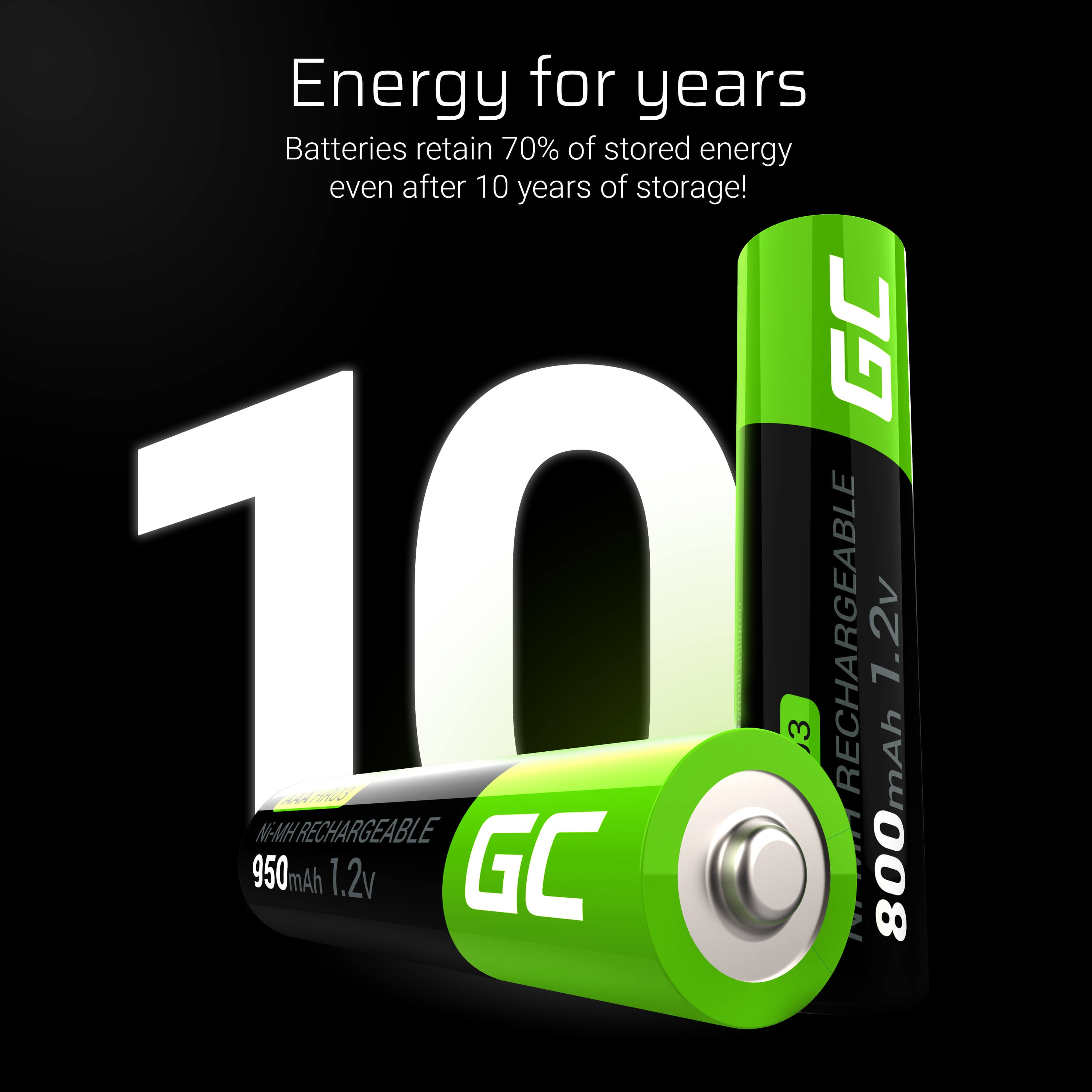 GC® 2x AAA rechargeable batteries HR03 800mAh Green Cell - 6