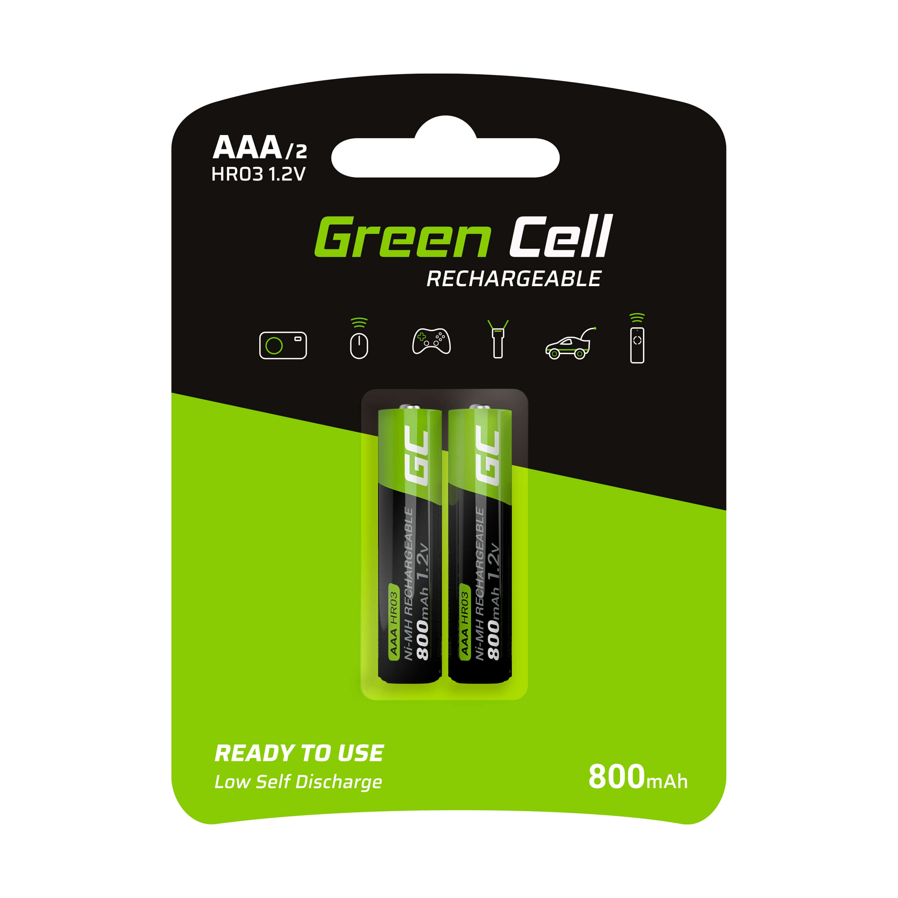 GC® 2x AAA rechargeable batteries HR03 800mAh Green Cell - 1