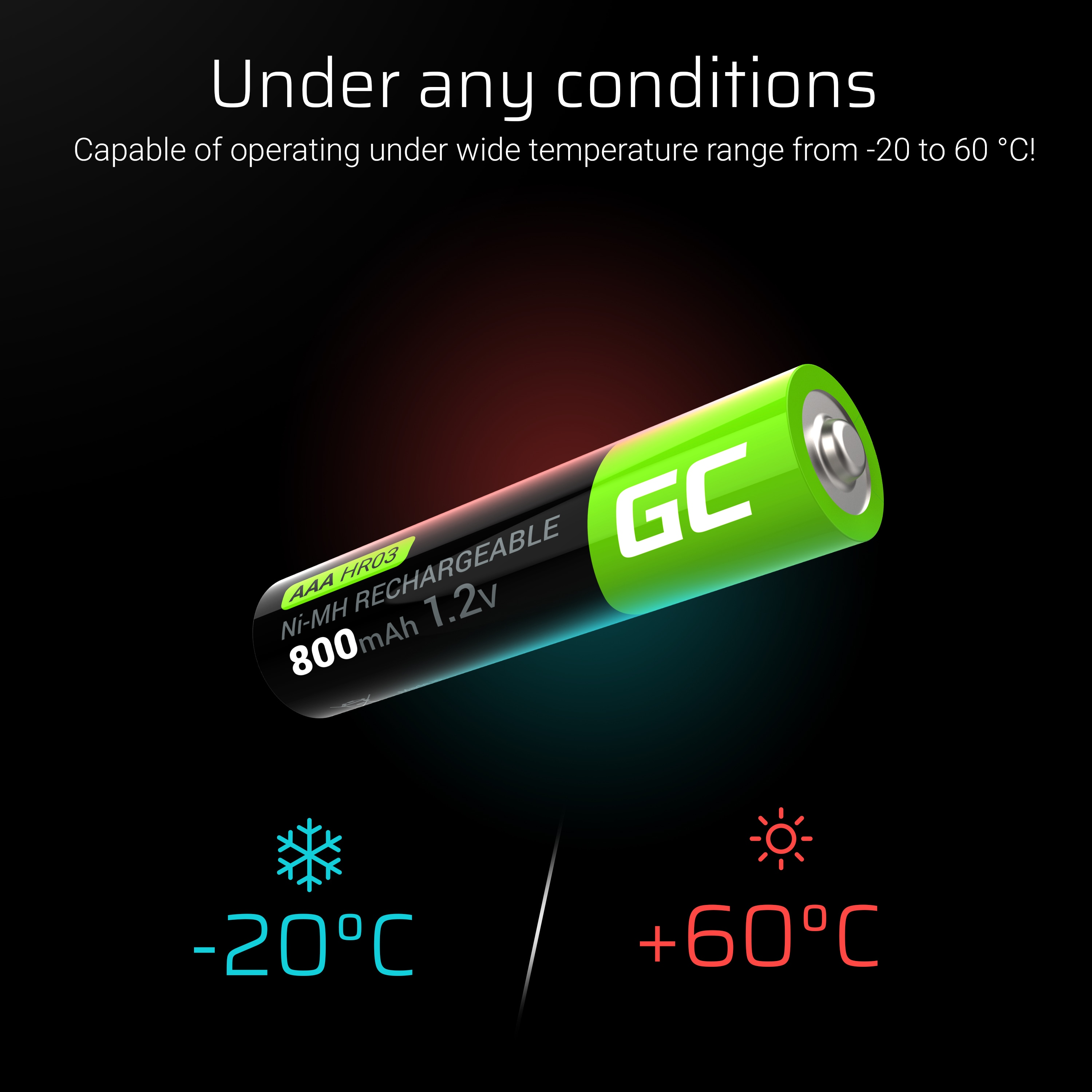 GC® 2x AAA rechargeable batteries HR03 800mAh Green Cell - 7