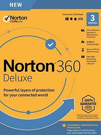 Norton 360 Deluxe - (3 Devices, 1 Year) - Symantec Key EUROPE - 1